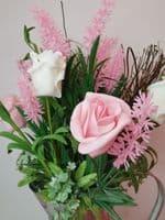 Silver Metal Jug With Pink Roses & Lavender